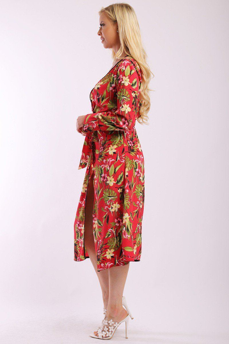 KATE Floral Print Cardigan Kimono with Matching Belt