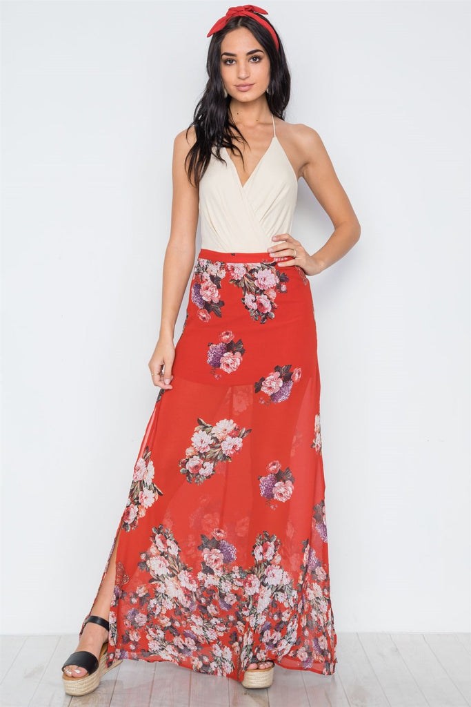 DANNY Floral Side Slits High-waist Maxi Skirt