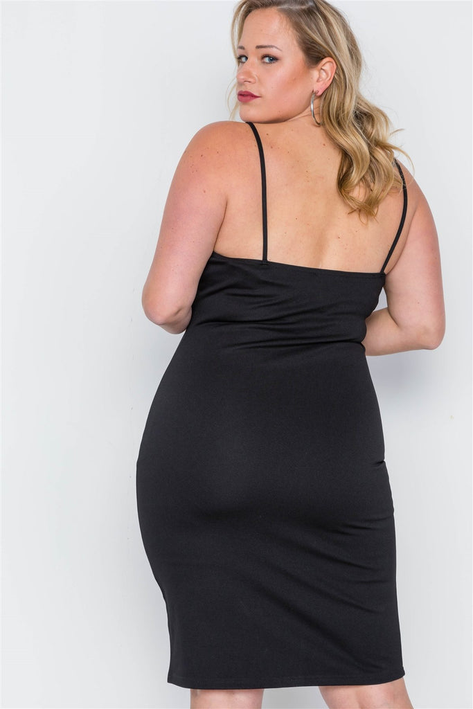 MARINA Black Ribbed Cami Bodycon Mini Dress