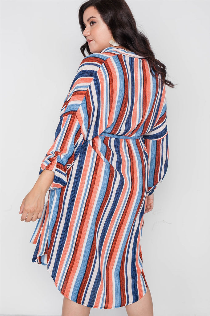 NADIA Stripe Button Down Shirt Dress