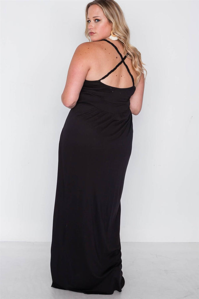 ELEANOR Strap Detail Cami Solid Maxi Dress