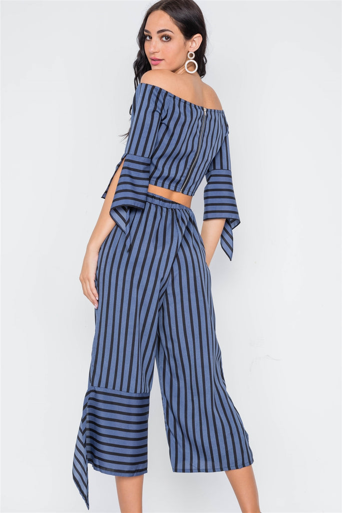 REMI Stripe Flounce Two Piece Top Pants Set