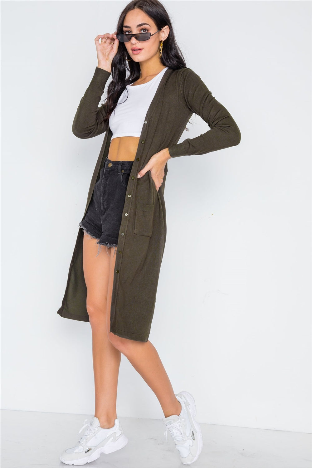 CLAIR Button Front Longline Cardigan