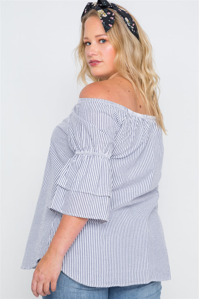 EDEN 3/4 Bell Sleeves Striped Top