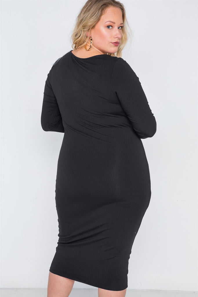 MARINA Basic Bodycon Midi Dress