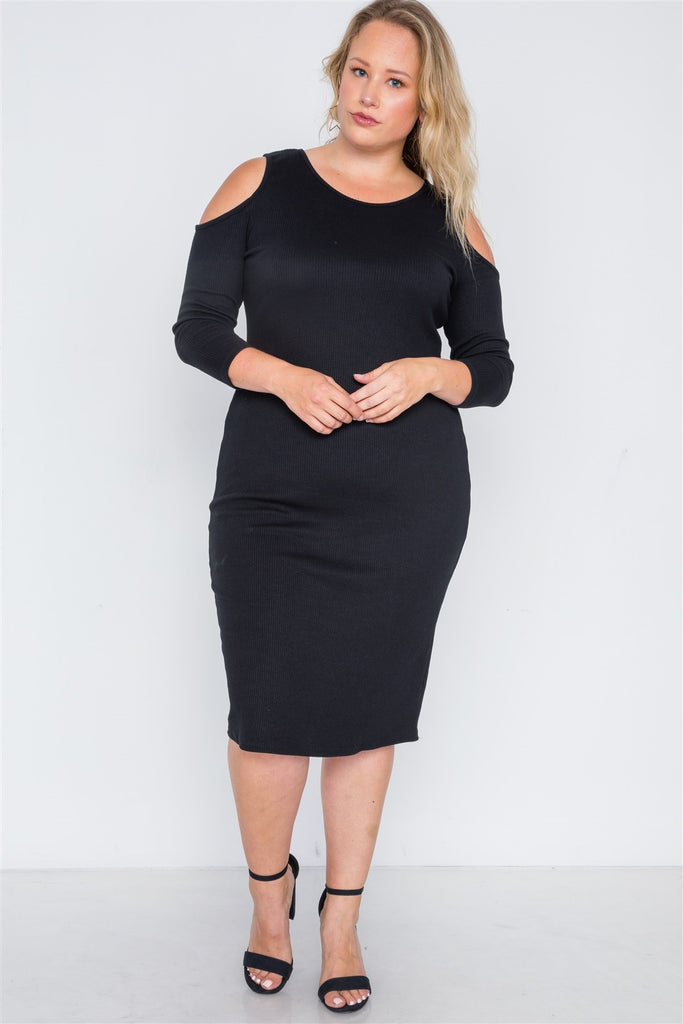 CORA Black Ribbed Cold Shoulder Bodycon Dress