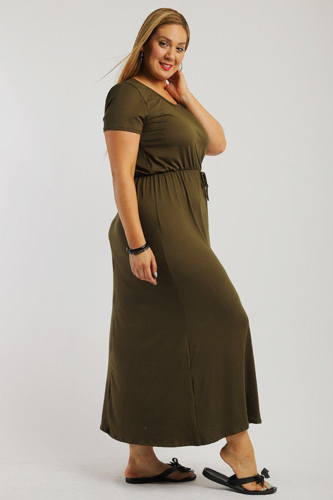 ELENA Solid, Ankle Length Maxi Dress