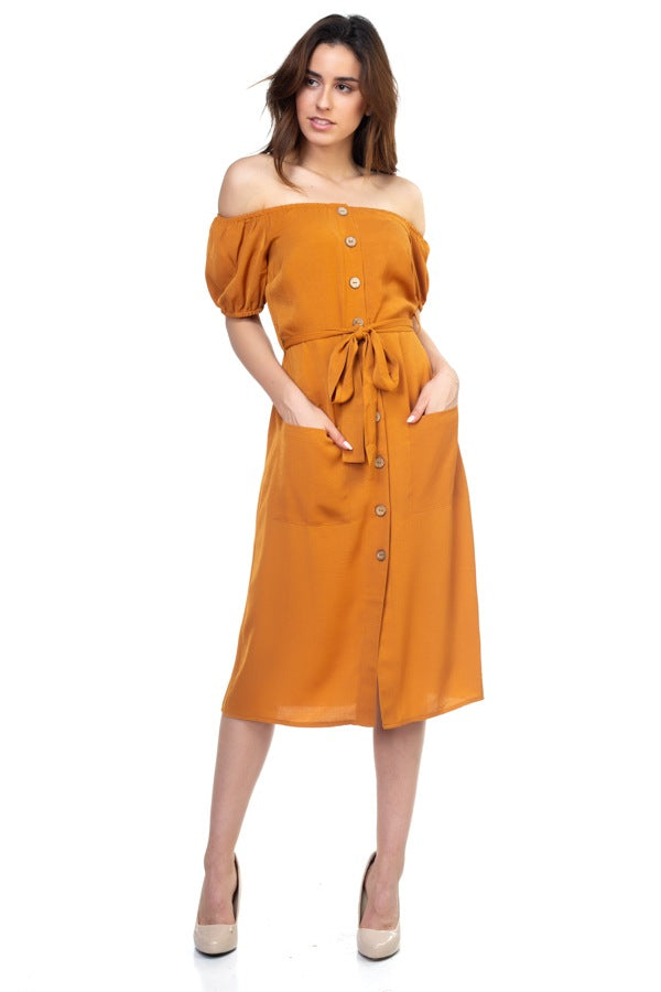 GABRIELLE Button Down Midi Dress