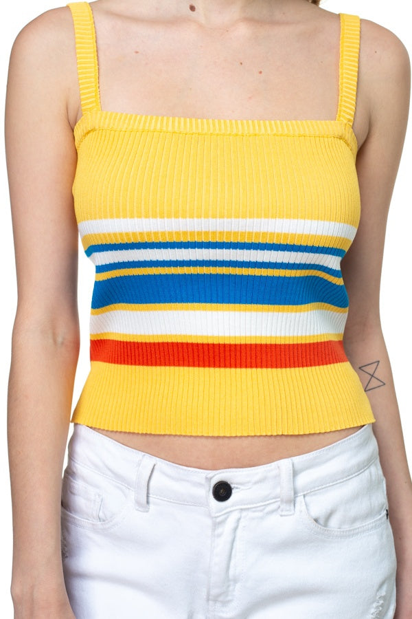 ANGIE Stripe Sweater Cropped Top
