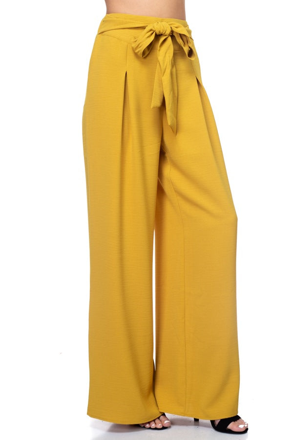 AMABEL Belted Pleated Palazzo Pants