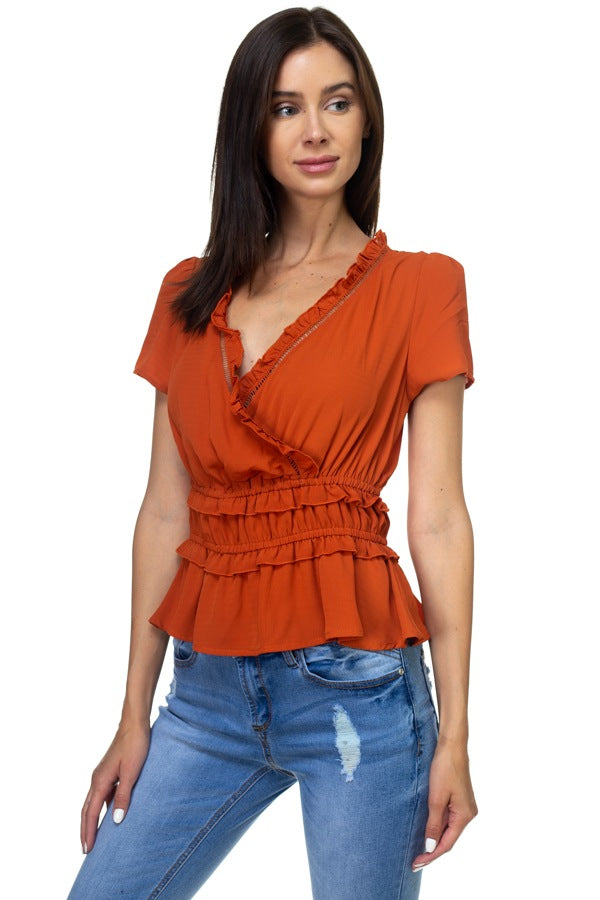 TEMPEST Shirring Ruffle Cropped Top