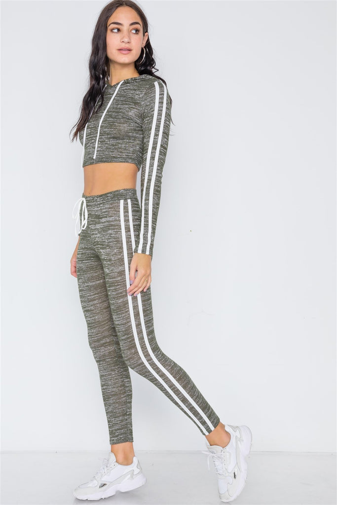 REAGAN Green Heathered Crop Top Legging - Two Piece Set