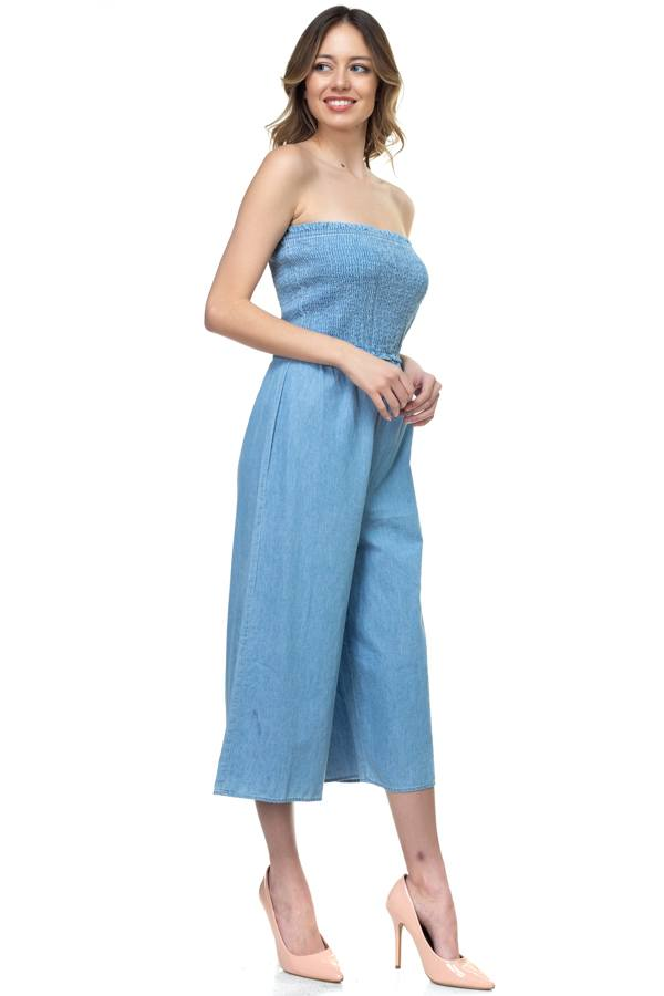 INGRID Smocked Tube Top Jumpsuit