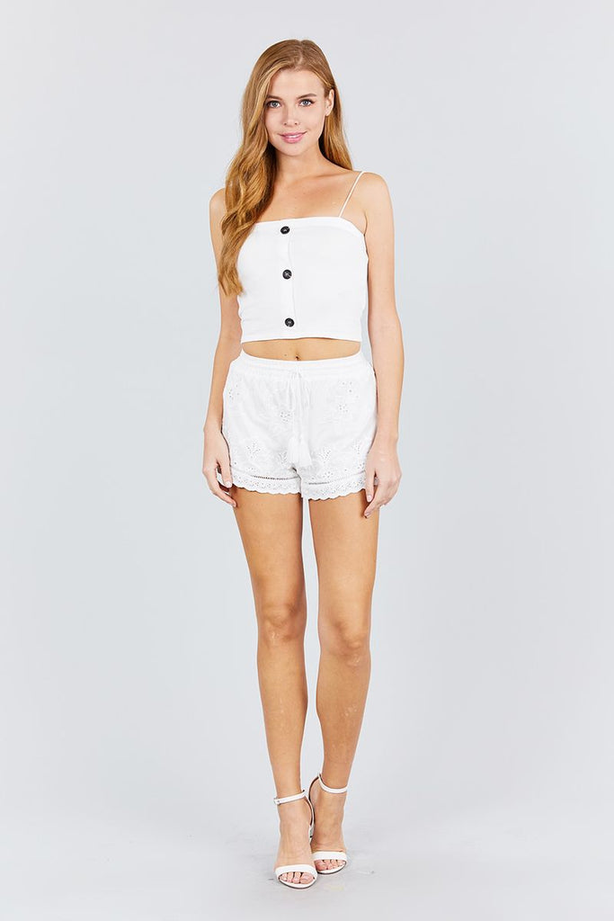 CHERI Button Down Elastic Strap Top