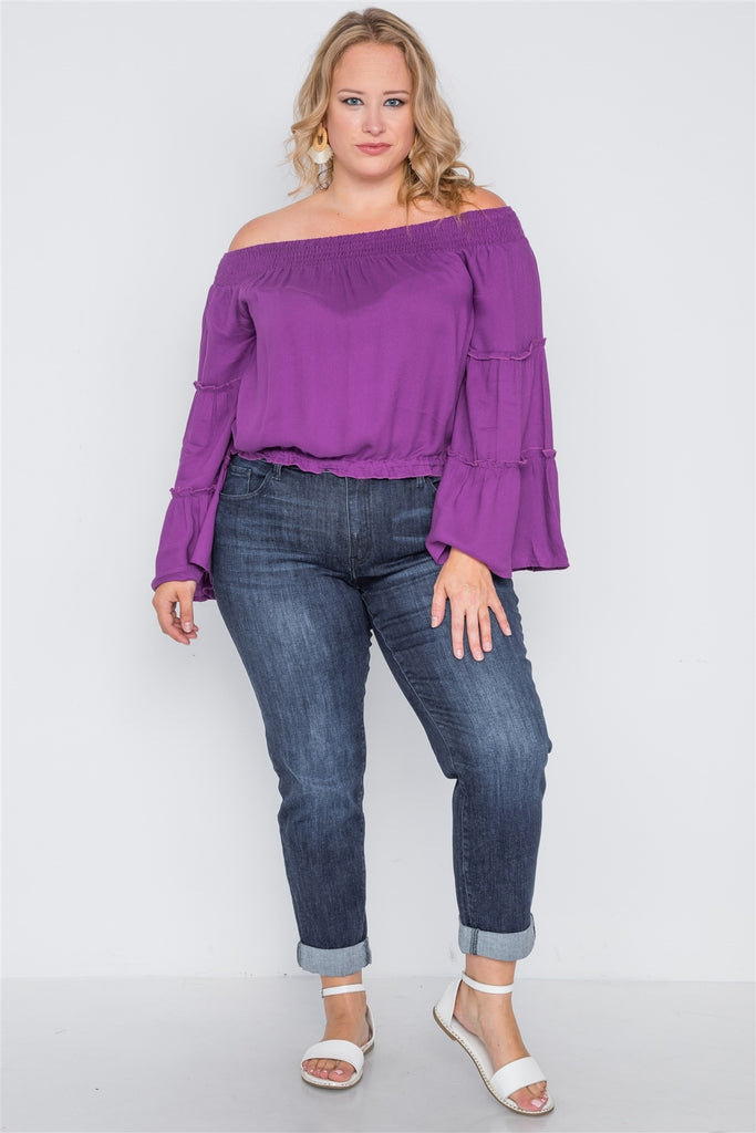 KLARA Off-the-shoulders Bell Sleeve Top
