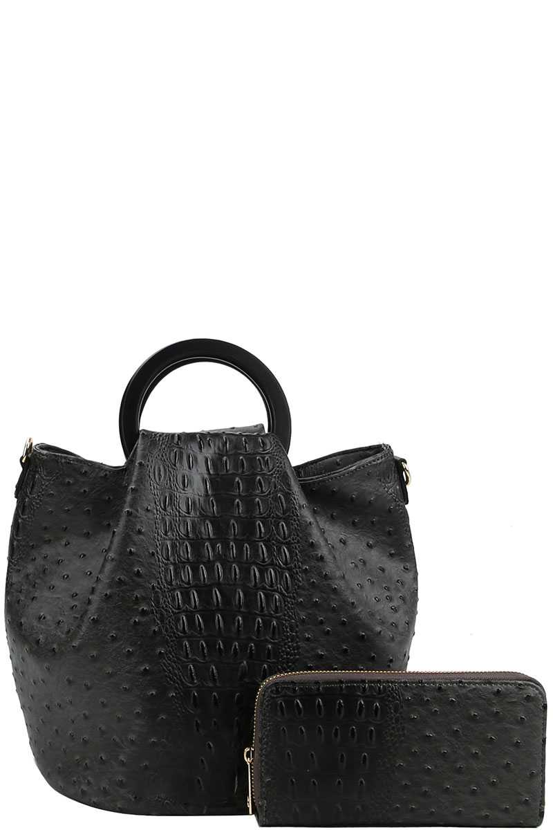 MIRIAM 2in1 Croco Pattern Chic Satchel With Long Strap