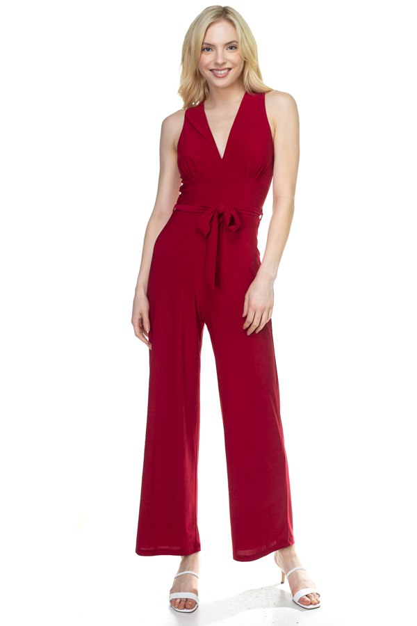 AMELIA Strapless Belted Jumpsuit