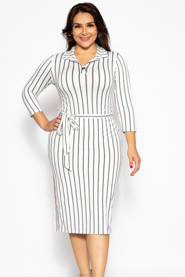 Solid Striped, Midi Tee Dress