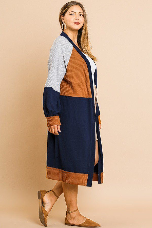 Colorblocked Long Puff Sleeve Ribbed Knit Long Open Front Sweater Cardigan