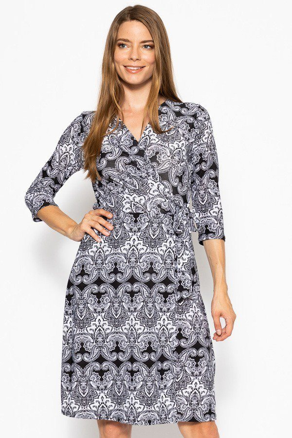 POLLY V-neck Line 3/4 Sleeve Dress