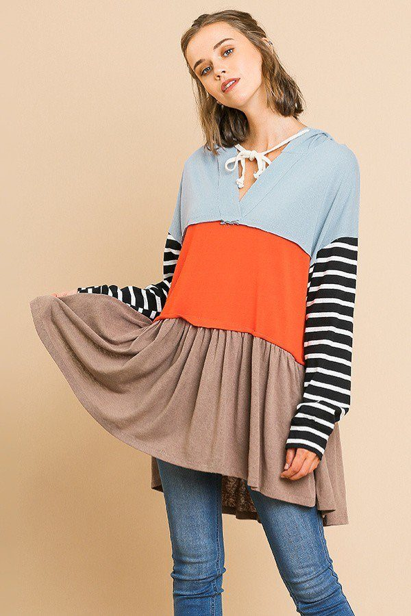 Striped Long Sleeve Color Blocked Hooded Tunic With Drawstring And Ruffle Hem