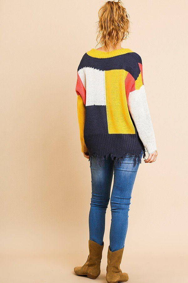 Color Blocked Long Sleeve V-neck Knit Pullover Sweater