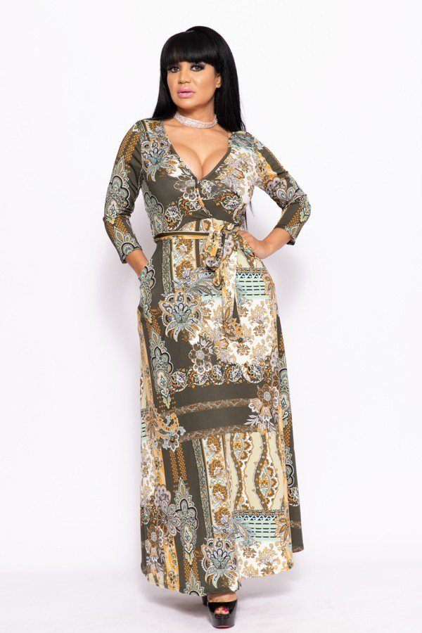 CAROLA Elegant Maxi Dress With A Waist Tie
