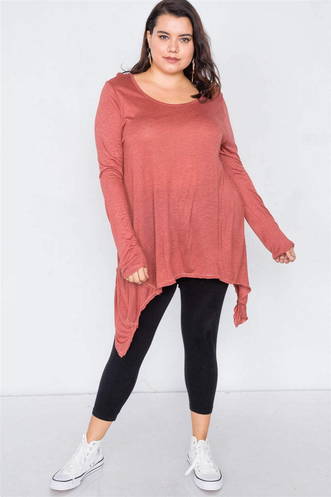 Plus Size Solid Shark Bite Raw Hem Top