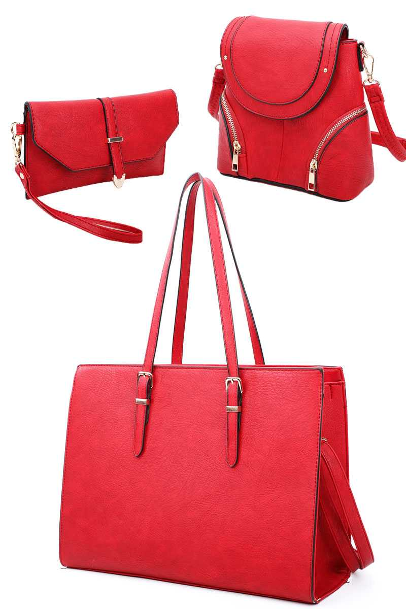 3in1 Designer Fashion Tote Backpack And Clutch Set With Long Strap