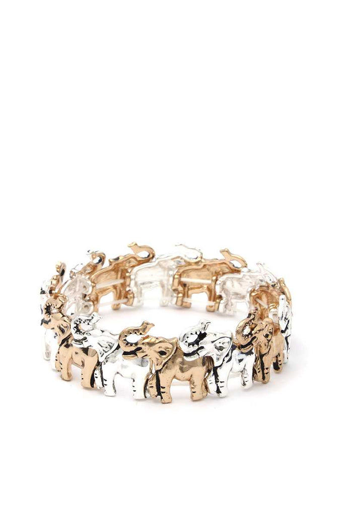 Elephant Metal Stretch Bracelet