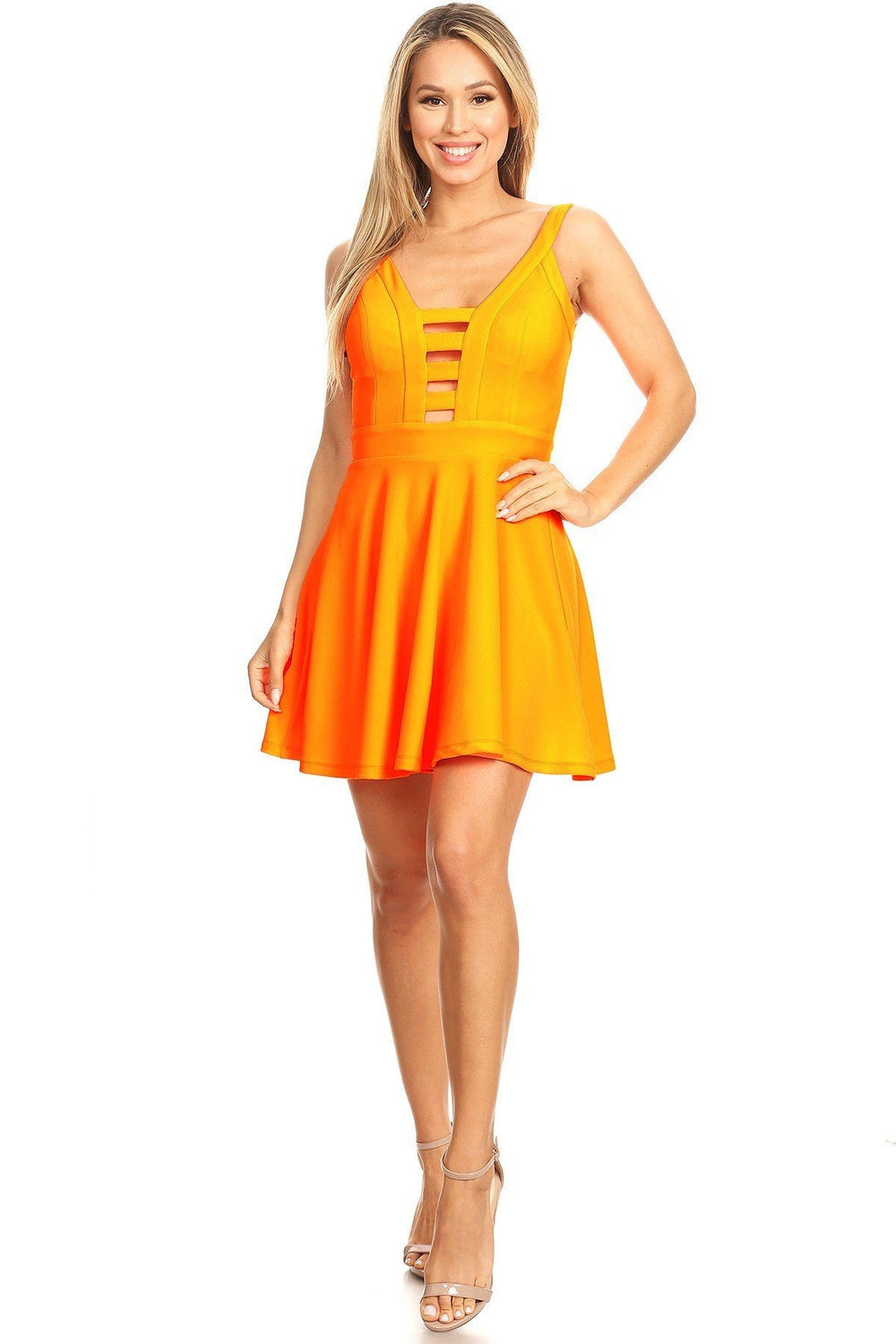 LORNA Solid Fit And Flare Dress
