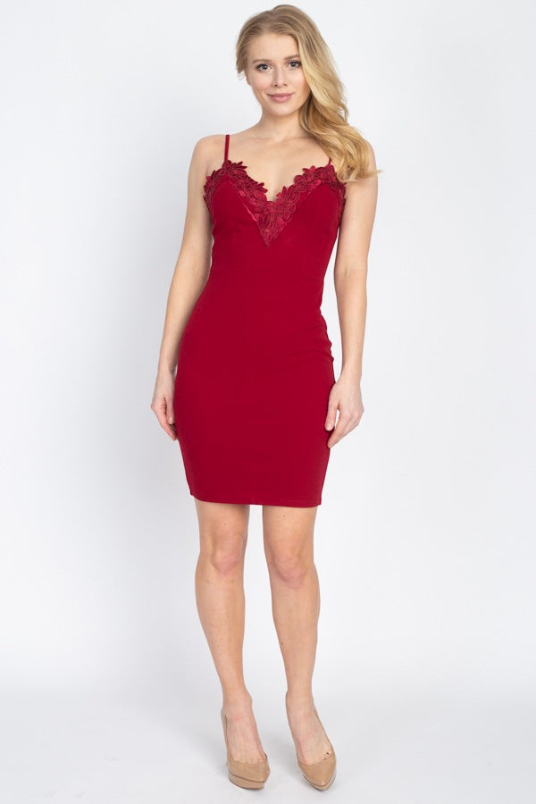 BELISSE Floral Lace Embroidered Mini Dress