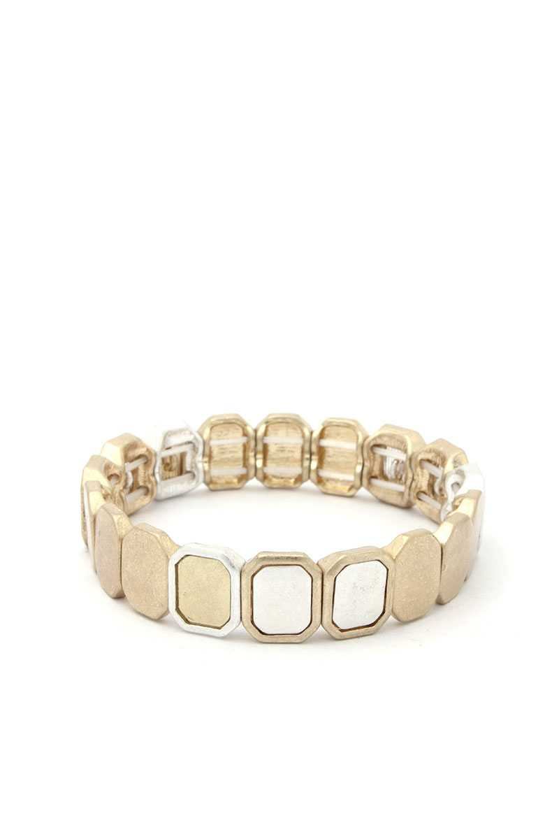 Two Tone Octagon Stretch Bracelet