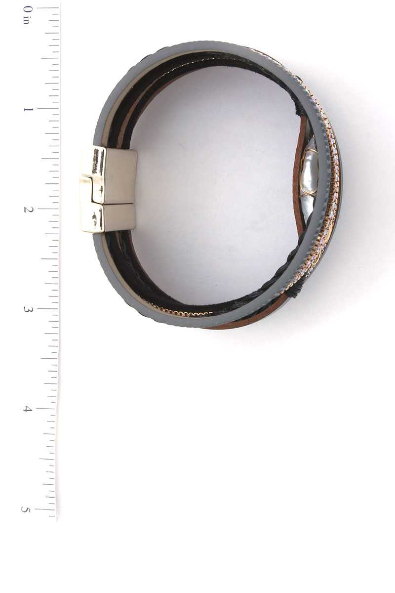 Faux Stone Wired Wrapped Magnetic Bracelet