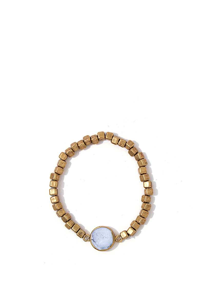 Modern Multi Beaded And Stone Bracelet