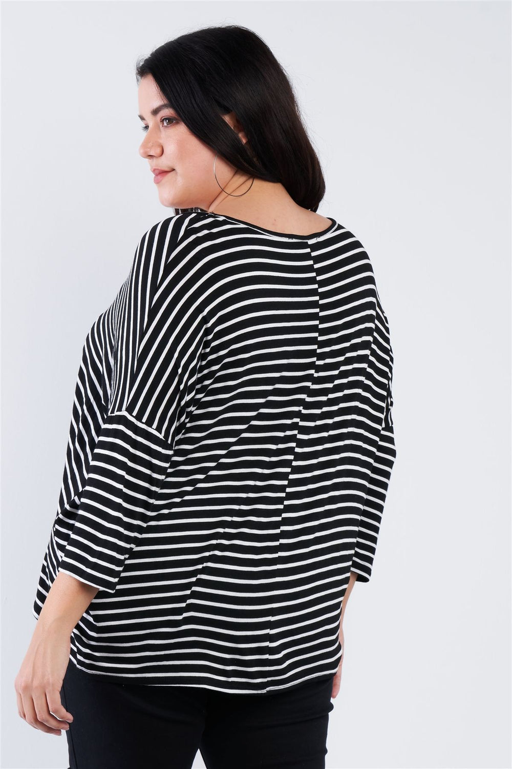 "Plus Size Black White Stripe Scoop Neck Relaxed Fit ""kiki Larue"" Top"