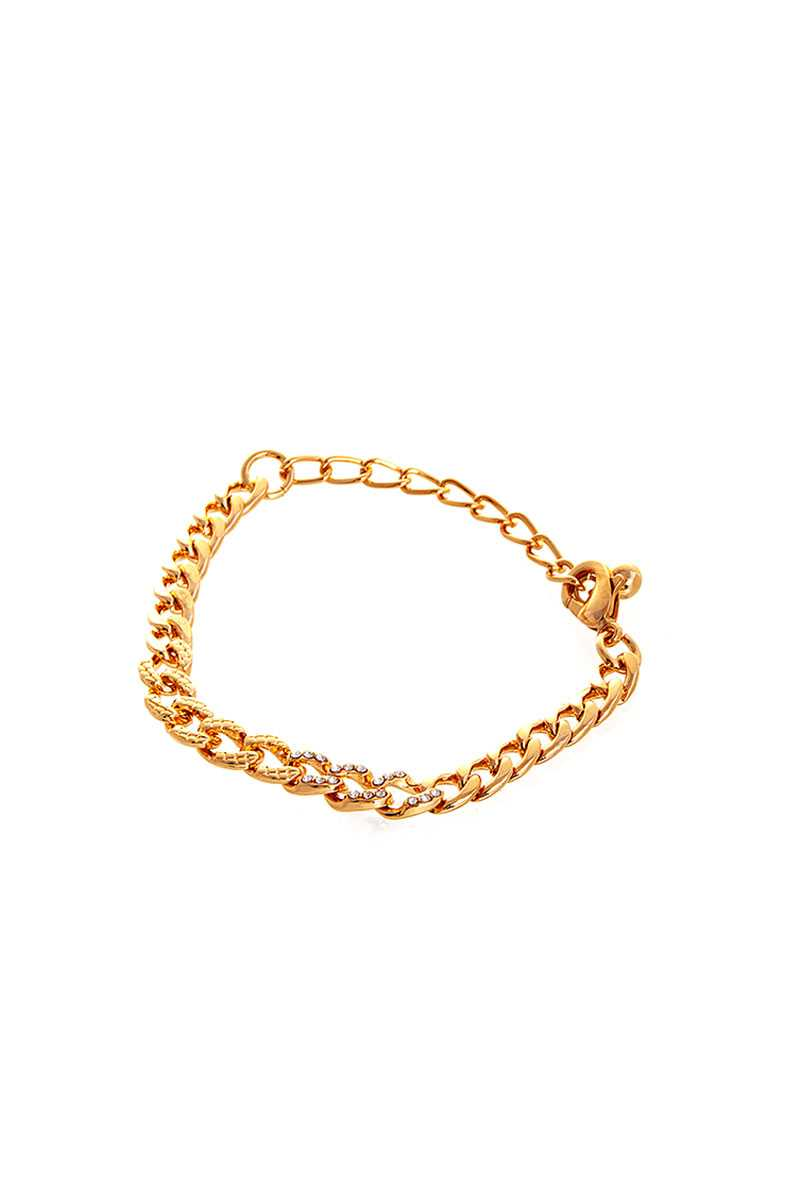 Stylish Rhinestone Accent Thick Chain Bracelet