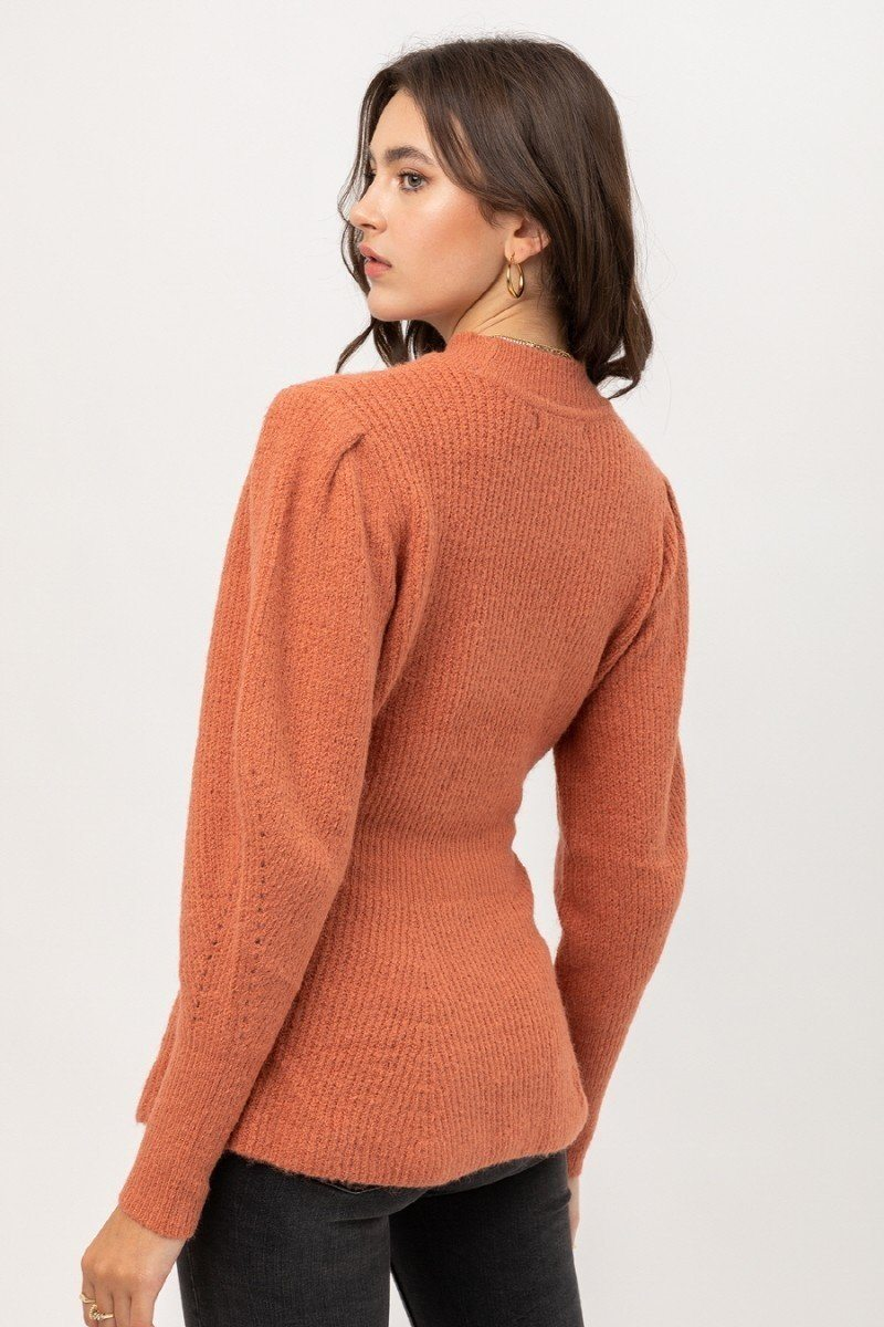2 Tone Tweed Yarn Puff Sleeve Sweater