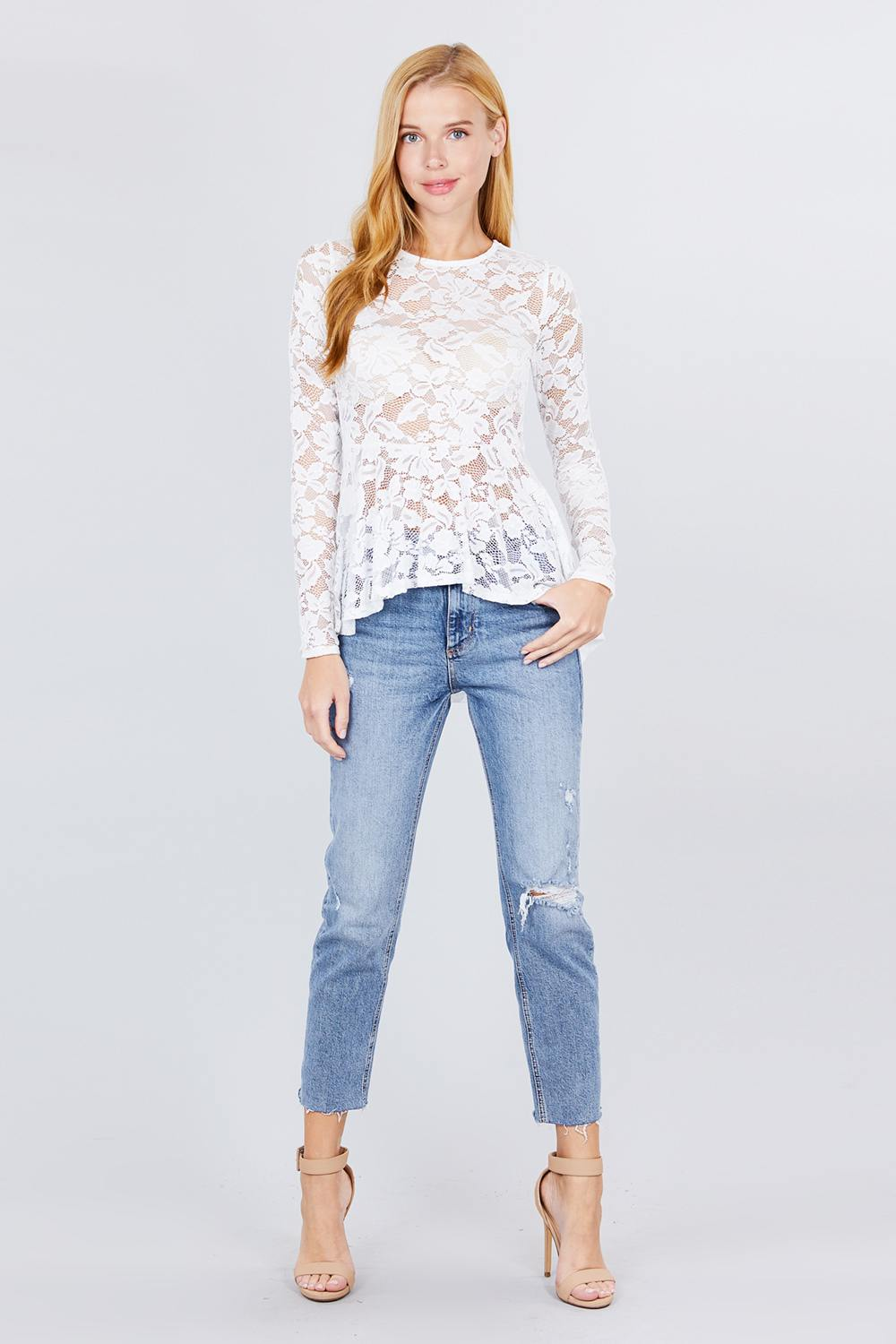 Long Sleeve Round Neck Peplum Lace Top