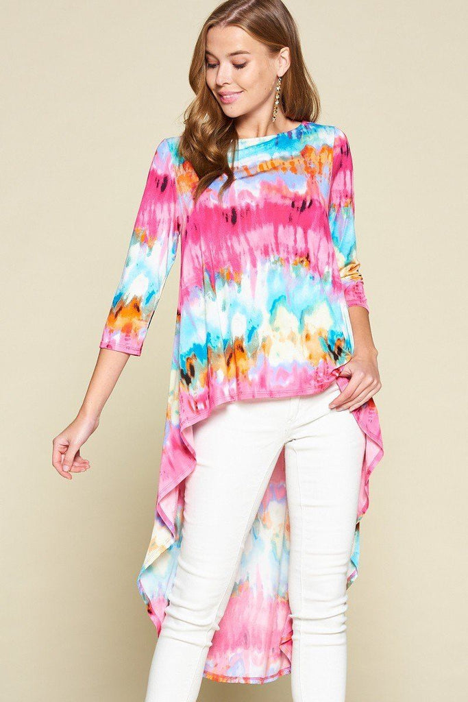 Tie-dye Venechia High Low Fashion Top With 3/4 Sleeves