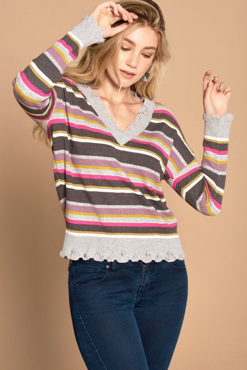 Multi-colored Variegated Striped Knit Sweater