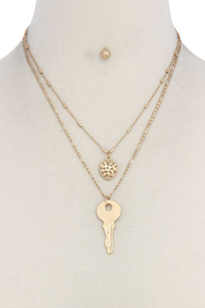 Heart Charm Key Layered Necklace