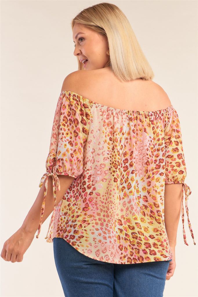 Plus Size  Leopard Print Relaxed Fit Off-the-shoulder Draw String Self Tie Puff Sleeve Top