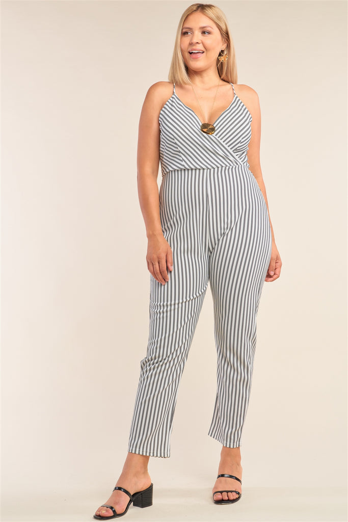 Plus Size Black&white Striped Wrap Sleeveless Criss-cross Strap Deep Plunge V-neck Jumpsuit