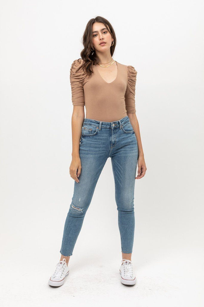 Sheered 3/4 Sleeve, V Neck Rayon Jersey Body Suit