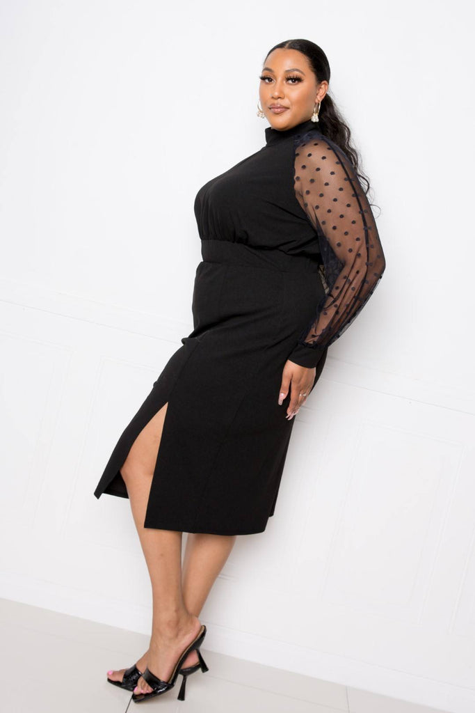 High Neck Dress With Polka Dot Mesh Insert