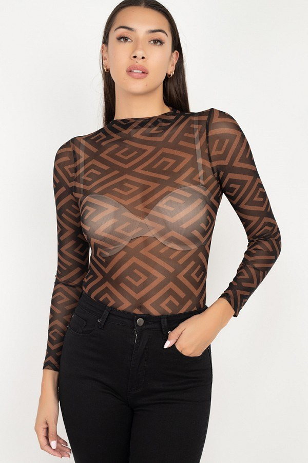 Long Sleeve Geometric Bodysuit