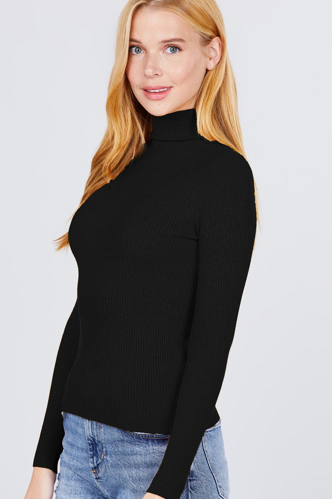 Turtle Neck Viscose Rib Sweater