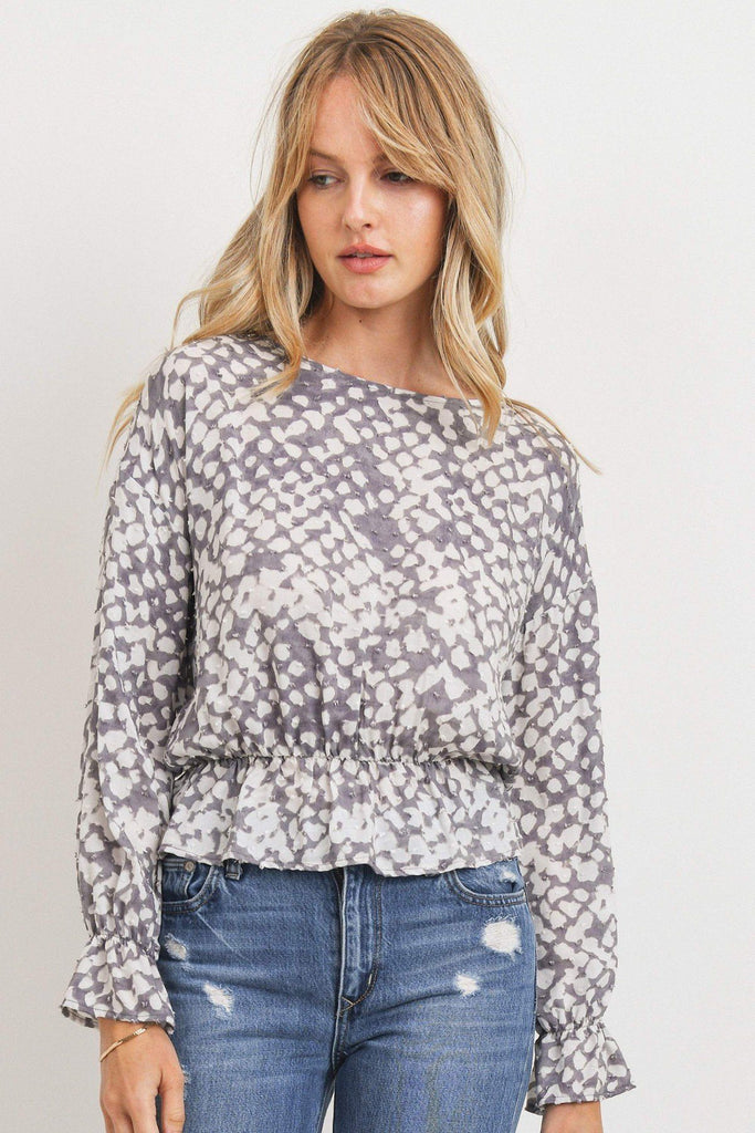 Ruffled Waist Drop Shoulder Long Sleeve Top