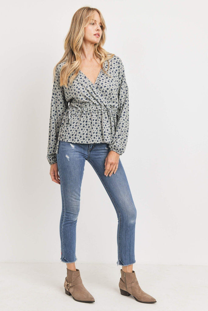 Surplice Neckline Drop Shoulder Long Sleeve Top